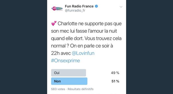 La question a été posée mardi soir sur le compte Twitter de Fun Radio. Le tweet a depuis été supprimé.