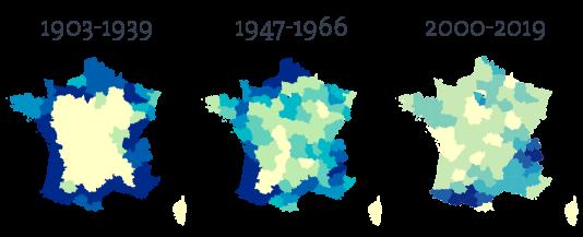 L'évolution du tracé du Tour de 1903 à 2019, vers une concentration sur les massifs montagneux.