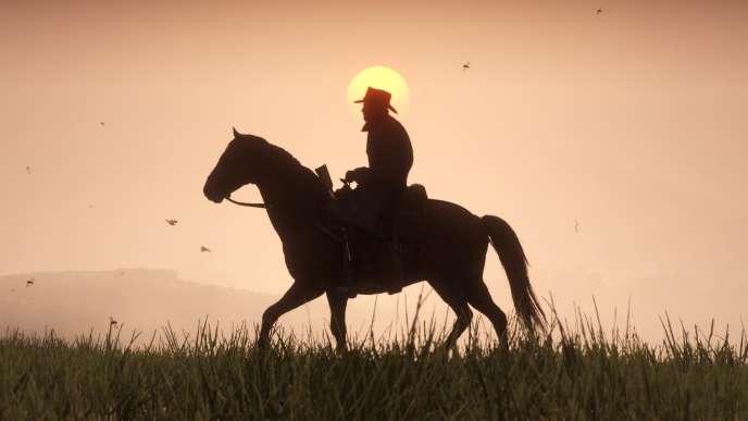Arthur, le héros de« RDR2», en contre-jour.