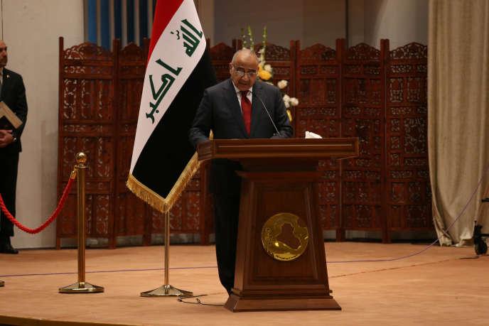 Le premier ministre irakien, Adel Abdel Mahdi, au Parlement, à Bagdad, le 24 octobre.