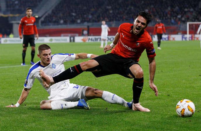 Clément Grenier du Stade de Rennes (droite) face au Dynamo Kiev, le 25 octobre en troisième journée de Ligue Europa.