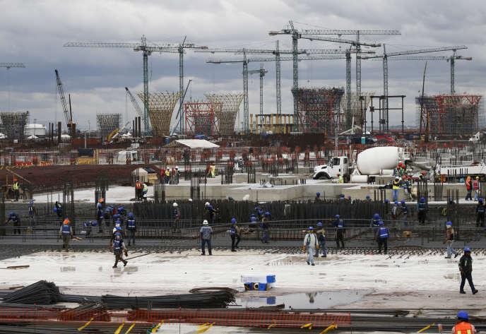 Construction du nouvelaéroportdeMexico sur le lit asséché du lac de Texcoco, à 30km au nord-est de la capitale mexicaine, le 17 octobre.