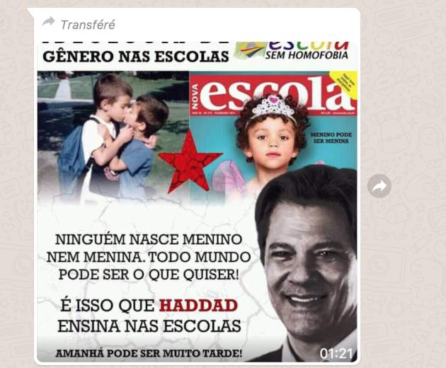 Exemple de message de propagande anti-Haddad circulant sur WhatsApp.