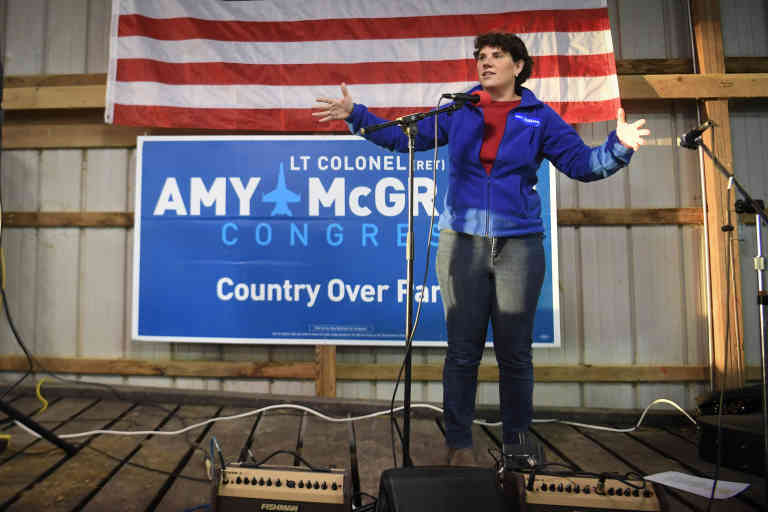 U.S. Democratic congressional candidate Amy McGrath speaks during a campaign event in Versailles, Kentucky, U.S. October, 18, 2018 REUTERS/Bryan Woolston