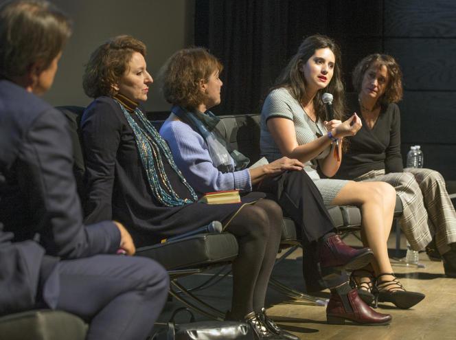 De gauche à droite : Eva Illouz, Diane Guilbault, Mélanie Lemay et Belinda Cannone lors de la conférence «Quel féminisme après #metoo ?» au Monde Festival Montréal, le 26 octobre.