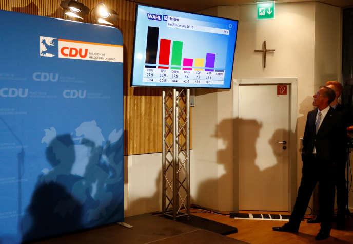 Des militants de l'Union des chrétiens démocrates (CDU) réagissent aux premiers résultats des élections régionales dans la Hesse, à Wiesbaden dimanche 28 octobre.