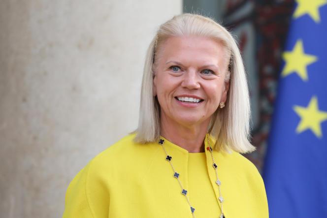 Virginia Rometty, PDG d'IBM, lors d'une visite à l'Elysée le 23 mai à l'occasion du sommet «Tech for Good».