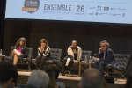 Alain Roy, Gabrielle Bouchard, Véronique Hivon, Christiane Taubira et Franck Nouchi lors de la conférence «Réformes sociétales : consensus québécois, dissensus français» au Monde Festival Montréal, le 26 octobre 2018.
