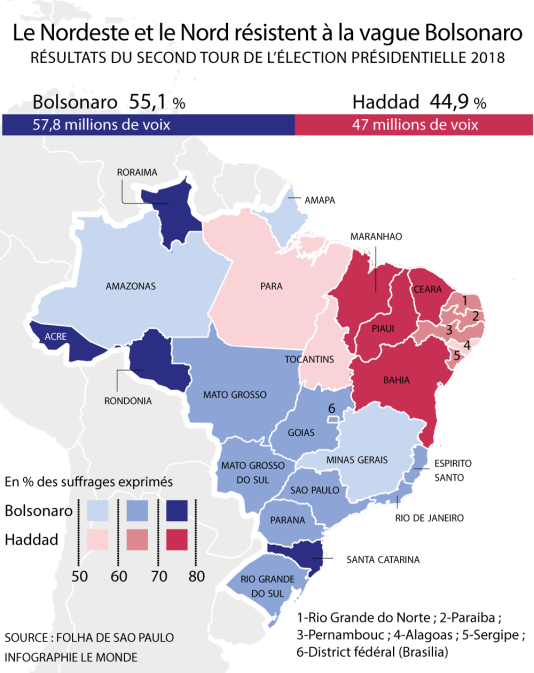 La carte des résultats du second tour de l'élection présidentielle au Brésil.