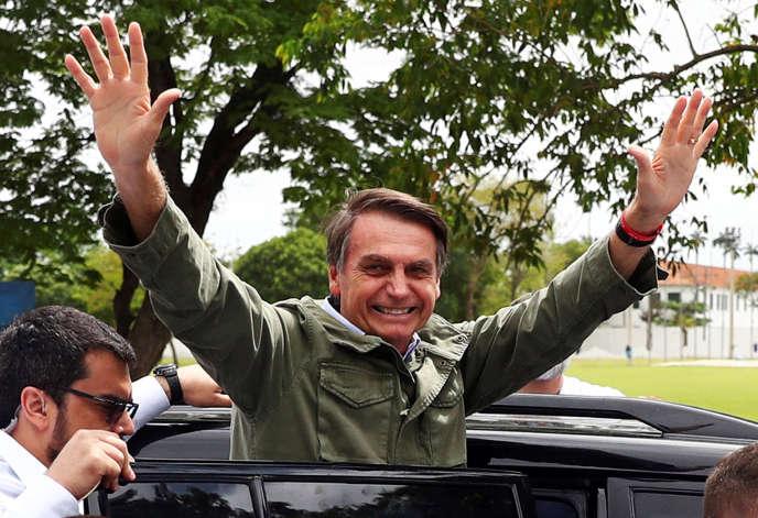 Jair Bolsonaro, à Rio de Janeiro, le 28 octobre, jour du second tour de l'élection présidentielle qu'il a remportée.
