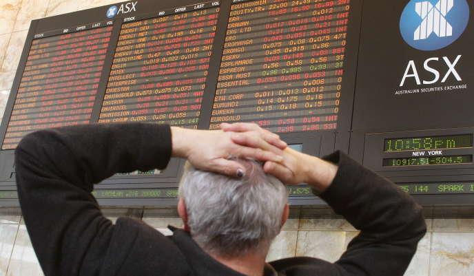A la Bourse australienne, à Melbourne, le 16 septembre 2008, lendemain de la faillite de Lehman Brothers.