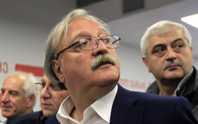 GrigolVachadze, candidat à l'élection présidentielle, s'adresse aux médias, à Tbilissi, le 28 octobre.