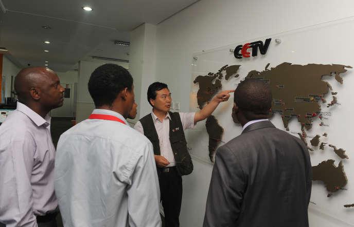 Dans les locaux dela chaîne CCTV Africa à Nairobi, la capitale kényane, en juin2012.