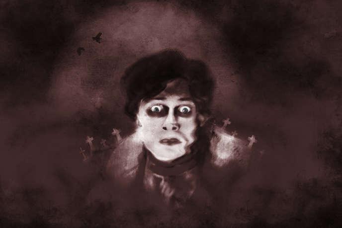 Une illustration en noir et blanc avec le personnage de Frankenstein.