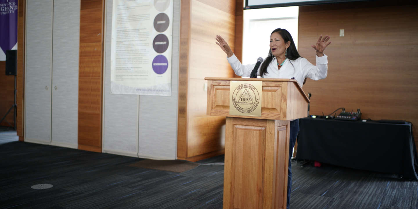 New Mexico 1st Congressional District, democratic candidate, Deb Haaland, speaks to the group invited by the New Mexico Highland University's Native American Center in Las Vegas, NM on Monday Oct. 8, 2018.