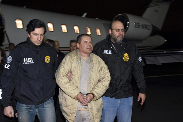 Joaquin «El Chapo» Guzman à son arrivée sur le territoire américain pour y être remis à la justice, le 19 janvier 2017.