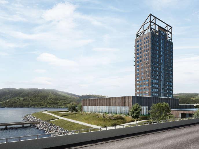 La tour en bois de Mjosa, à Brumenddal, en Norvège, culmine à 85 mètres de haut.