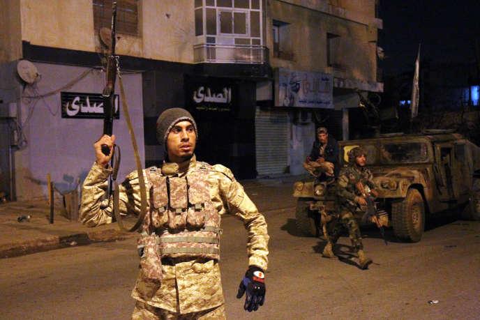 Des membres de l'autoproclamée Armée nationale libyenne (ANL) du maréchal Khalifa Haftar, en février2018.