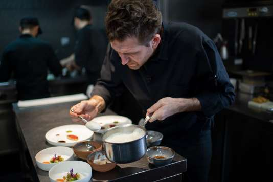 Alexandre Mazzia, named Chef of 2019 by Gault & Millau, in the kitchen of his AM restaurant, in Marseille, on October 23, 2018.