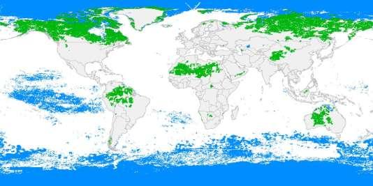 La carte planétaire de la vie sauvage. En vert, les zones terrestres, en bleu, les zones maritimes. Source: «Nature».