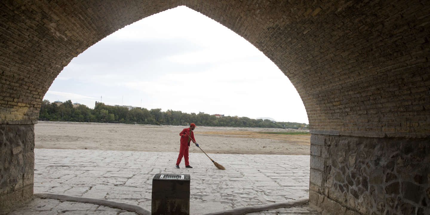 This photo dated 10.26.2018 -A swiper cleaning the side walk of  Si-o-seh Pol bridge in Isfahan,Iran.The Zayandehrood river no longer runs under the 400-year-old Si-o-seh Pol bridge, named for its 33 arches, in Isfahan. Farmers in central Iran are turning to protests, pleading to authorities for a solution as years of drought destroy their livelihoods.    Maryam Rahmanian