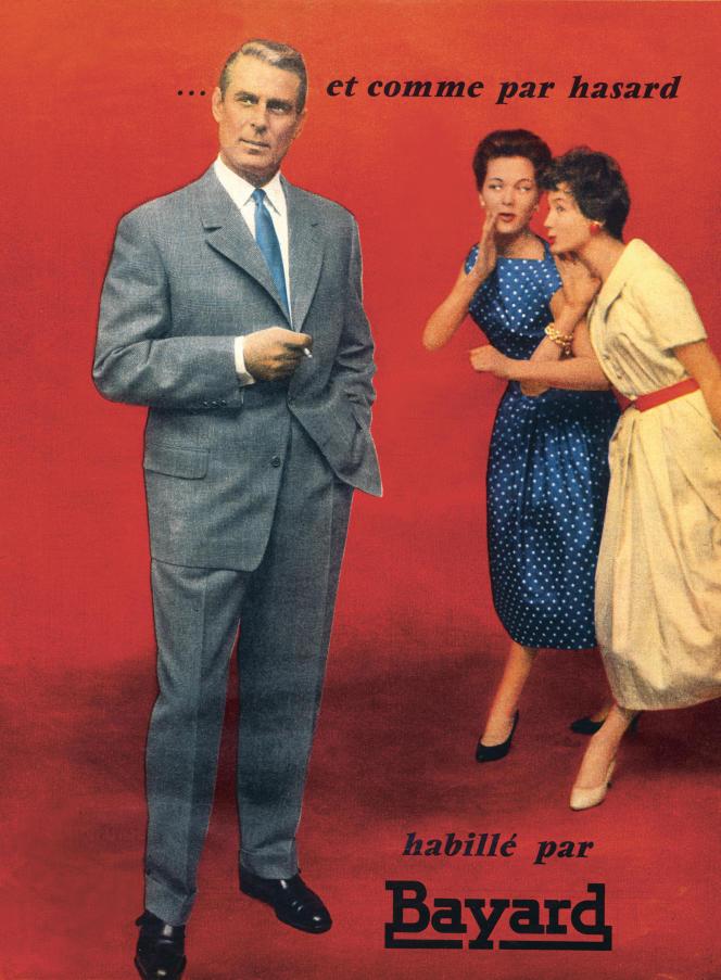 Publicité de 1957 pour un costume Bayard typique des années 1950 avec sa veste et son pantalon large. Extrait du livre«Histoire des modes et du vêtement», éd. Textuel.