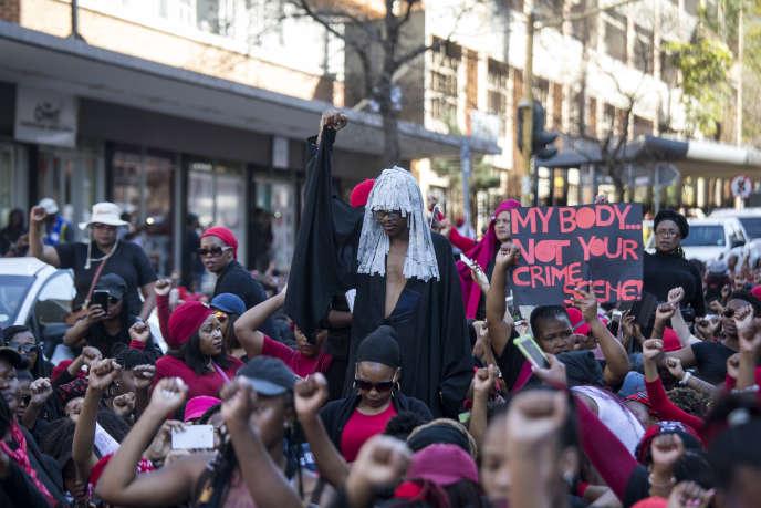 Marche contre les violences liées au genreen Afrique du Sud, le 1eraoût 2018 à Pretoria.