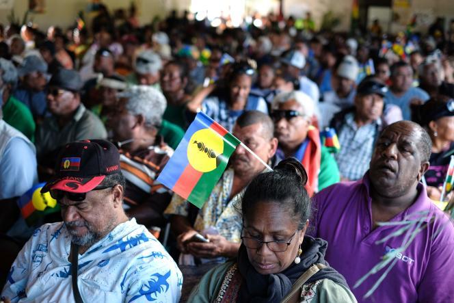 Lors du meeting du Front de libération nationale kanak et socialiste, à Nouméa,le 30 octobre.