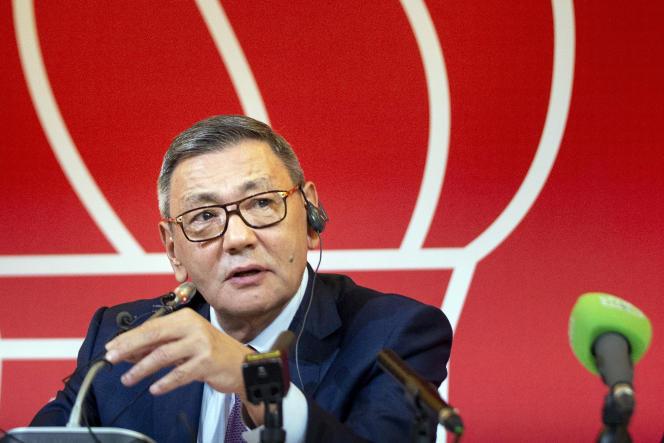 Le nouveau président de la Fédération internationale de boxe, Gafur Rakhimov, lors d'une conférence de presse, à Moscou, le 3 novembre.