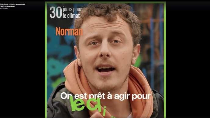Du 15novembre au 15décembre, les stars de YouTube (comme ici Norman) se filmeront chaque jour en train de réduire leur impact sur l'environnement.
