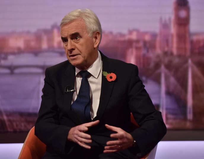 Le ministre des finances du «cabinet fantôme» du parti Labour, John McDonnell, sur le plateau de la BBC, le 28 octobre.