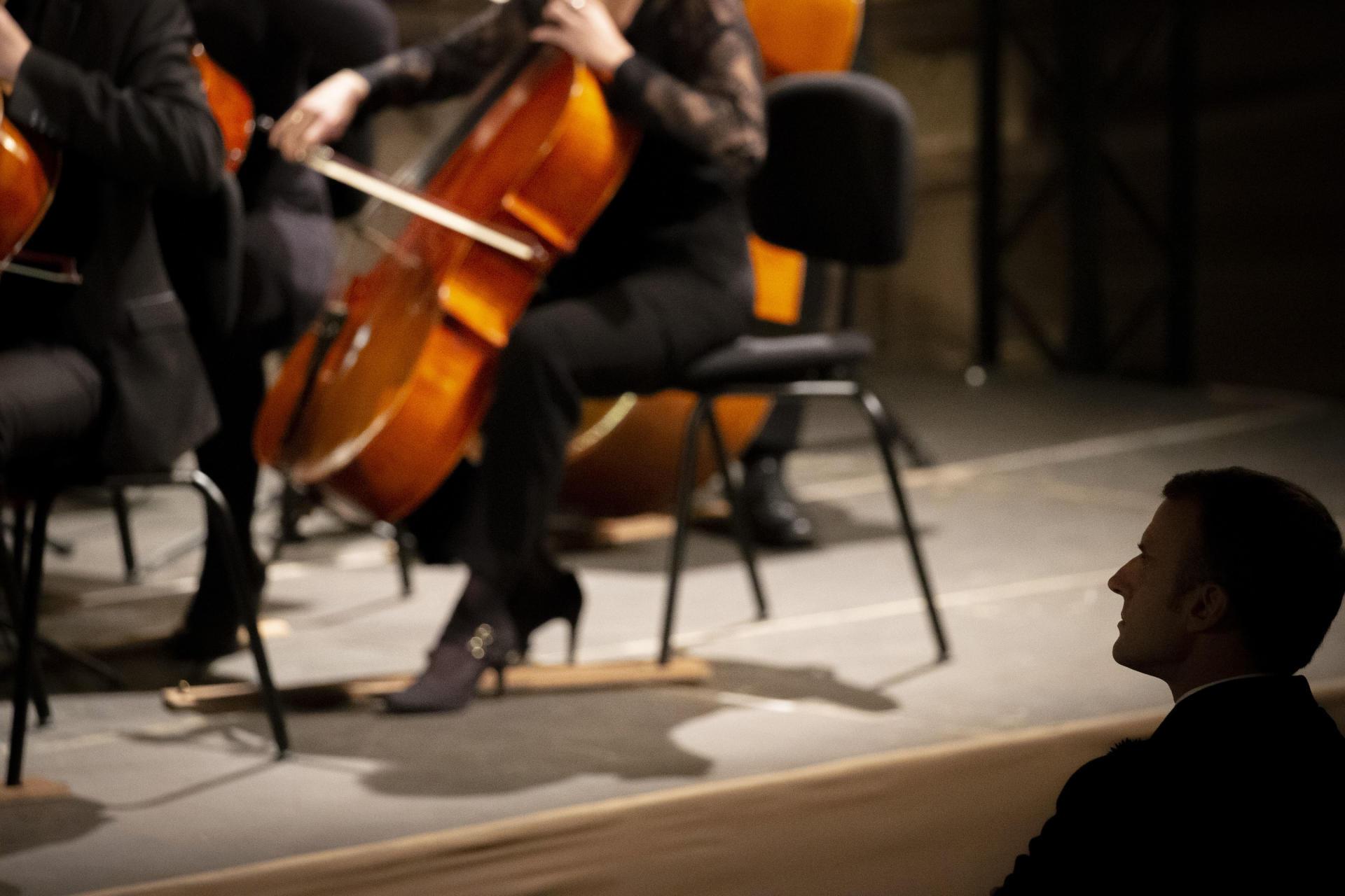 Pendant le concert donné à la cathédrale de Strasbourg, avec le président allemand, Frank-Walter Steinmeier, et son épouse, Elke Büdenbender.