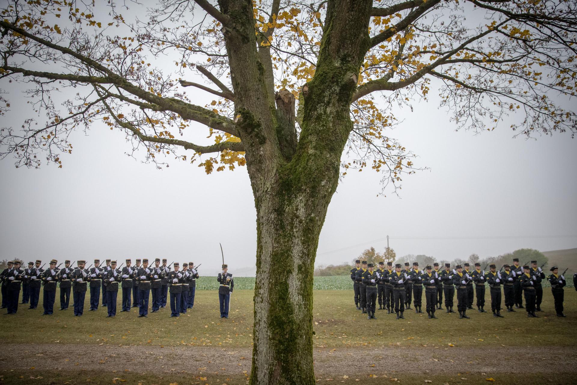Hommage aux combattants français tués en août 1914 lors de la bataille des frontières à Morhange.