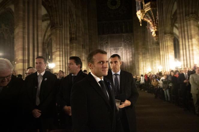 Emmanuel Macron lors de la première étape de son itinérance mémorielle de l'Armistice de la guerre 14-18, à Strasbourg, le 4 novembre.