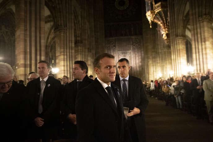 M. Macron à la première étape de son itinérance mémorielle de la guerre 14-18, à Strasbourg, le 4 novembre.