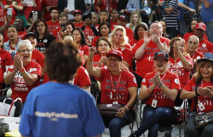 Une réunion électorale des membres du syndicat hôtelier Culinary Workers Union, le 5 novembre à Las Vegas (Nevada).