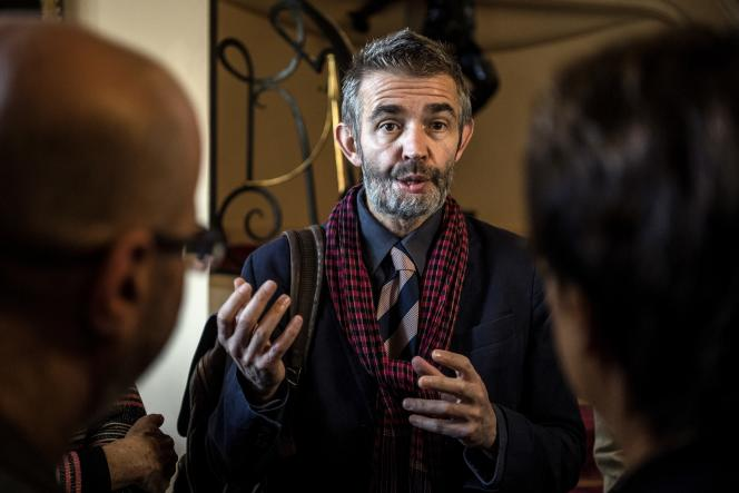 Philippe Lançon, lors de la remise du Prix Femina, au Cercle interallié à Paris, le 5 novembre.