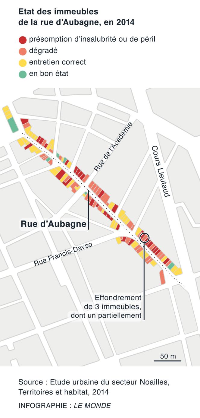 Etat des immeubles rue d'Aubagne, à Marseille.
