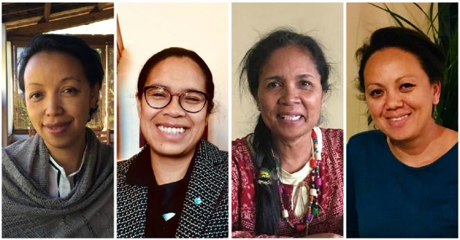 De gauche à droite: Hony Radert, secrétaire générale du Collectif des citoyens et des organisations citoyennes, Ketakandriana Rafitoson, directrice de Transparency Madagascar, Faraniaina Ramarosaona, coordinatrice du mouvement Rohy pour les élections, et Mbolatiana Raveloarimisa, fondatrice de Wake up Madagascar.