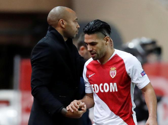 Thierry Henry et Radamel Falcao contre Bruges, en Ligue des champions, le 6novembre 2018.