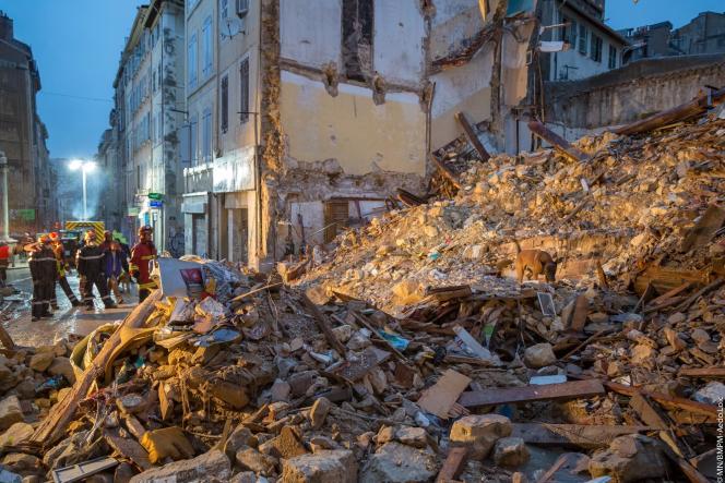 Le site des immeubles effondrés rue d'Aubagne à Marseille, le 5 novembre.