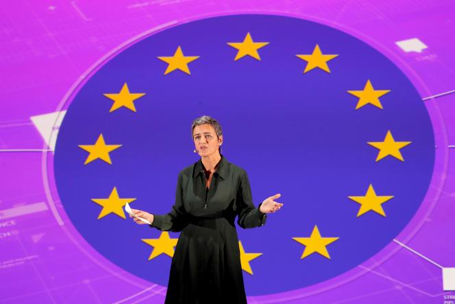 La commissaire danoise à la concurrence, Margrethe Vestager, ici en octobre 2017 lors d'une conférence à Paris, semble la candidate la plus sérieuse pour emmener la famille libérale.