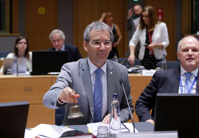 Le ministre autrichien des finances, Hartwig Loeger, lors d'uneréunion des ministres des finances de l'Ecofin à Bruxelles, en Belgique, le 13juillet.