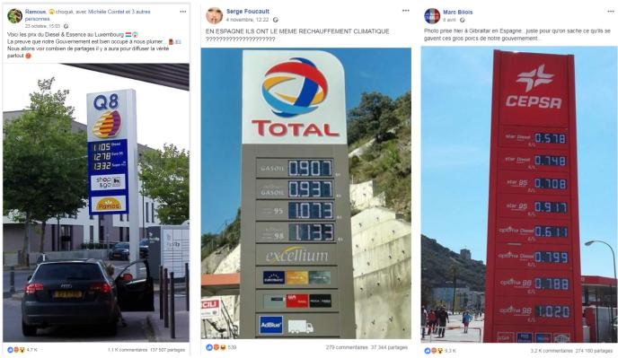 Des publications relayées sur les réseaux sociaux au sujet des prix de l'essence au Luxembourg, en Espagne et à Gibraltar.