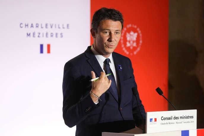 Le porte-parole du gouvernement, Benjamin Griveaux, lors de son intervention à Charleville-Mézières, dans les Ardennes, mercredi 7 novembre.