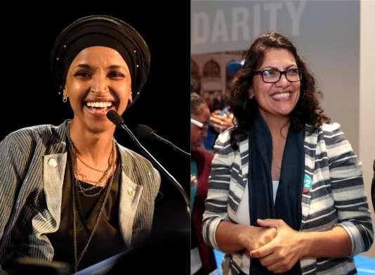 Ilhan Omar (à gauche) et Rashida Tlaib (à droite) sont devenues les premières femmes de confession musulmane à être élues à la Chambre des représentants.