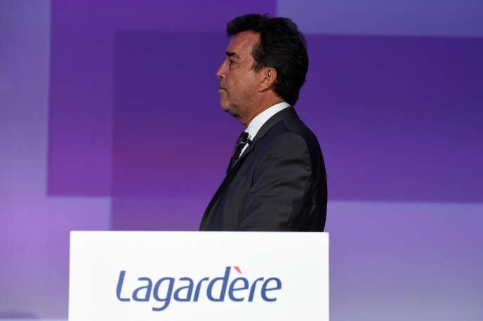 Arnaud Lagardère, lors de l'assemblée générale des actionnaires du groupe, à Paris, le 3 mai