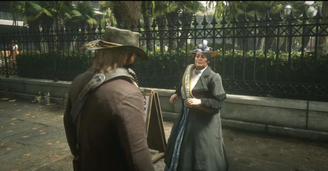 Le héros, joué par un vidéaste suivi par 500 000 internautes, s'apprête à assommer une suffragette dans le jeu vidéo« Red Dead Redemption 2».