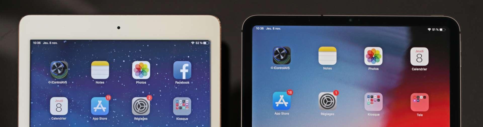 Le dessin classique de l iPad comporte d importantes marges supérieures et  inférieures que l iPad Pro 11 gomme en grande partie. NICOLAS SIX   LE MONDE 22dd21d14fa9