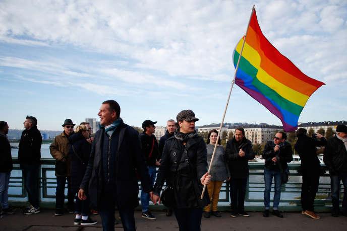 Manifestation contre l'homophobie à Rouen, le 3 novembre 2018, à Rouen, après une agression le 1er novembre.